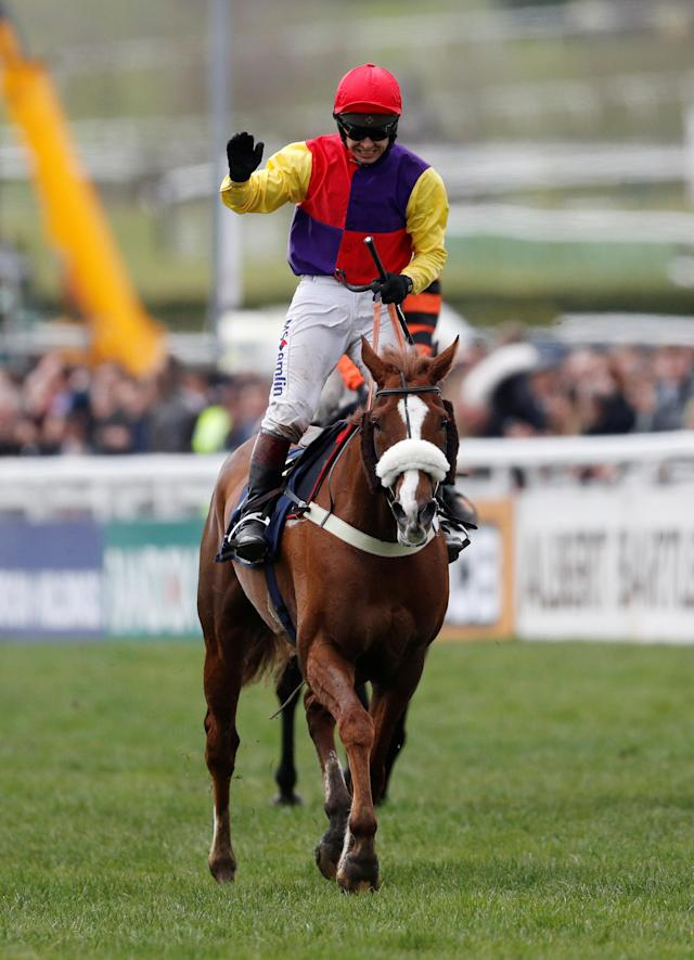 Horse Racing - Cheltenham Festival - Cheltenham Racecourse, Cheltenham, Britain - March 16, 2018 Native River ridden by Richard Johnson celebrates winning the 15.30 Timico Cheltenham Gold Cup Chase REUTERS/Darren Staples