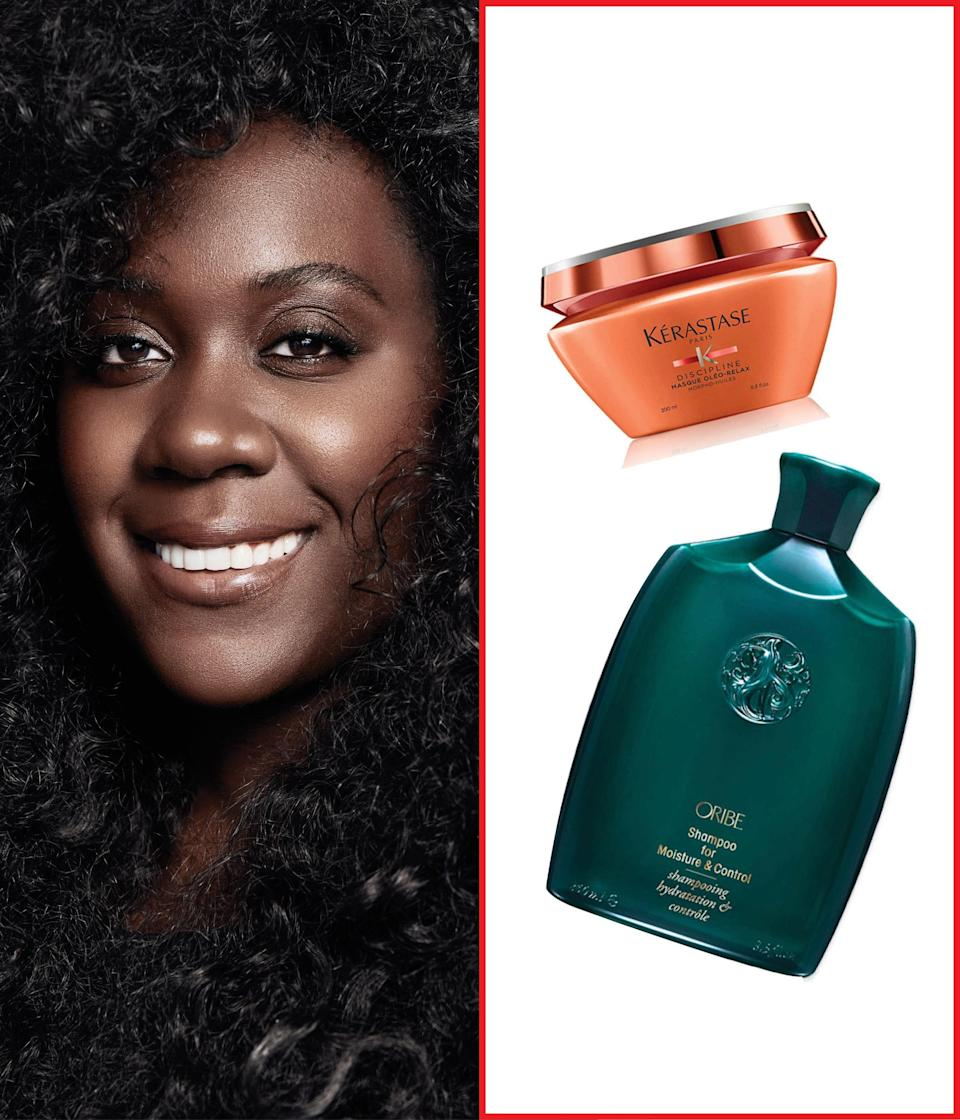 """I love <a href=""""https://shop-links.co/1721729249111648341"""" rel=""""nofollow noopener"""" target=""""_blank"""" data-ylk=""""slk:Oribe's Moisture & Control Shampoo"""" class=""""link rapid-noclick-resp"""">Oribe's Moisture & Control Shampoo</a> because it's specifically formulated for weightless curls. It won't weigh curls down, but it still moisturizes deep. I also love <a href=""""https://shop-links.co/1721729366687427793"""" rel=""""nofollow noopener"""" target=""""_blank"""" data-ylk=""""slk:Kérastase's Discipline Olé o-Relax Mask;"""" class=""""link rapid-noclick-resp"""">Kérastase's Discipline Olé o-Relax Mask;</a> it has coconut oil for frizz control and moisture without leaving any residue behind—but my favorite thing about this product might be its amazing smell! <em>—</em><a href=""""https://www.instagram.com/naivashaintl/"""" rel=""""nofollow noopener"""" target=""""_blank"""" data-ylk=""""slk:Nai'vasha"""" class=""""link rapid-noclick-resp""""><em>Nai'vasha</em></a><em>, celebrity hairstylist</em> $46, Oribe. <a href=""""https://shop-links.co/1721729249111648341"""" rel=""""nofollow noopener"""" target=""""_blank"""" data-ylk=""""slk:Get it now!"""" class=""""link rapid-noclick-resp"""">Get it now!</a>"""