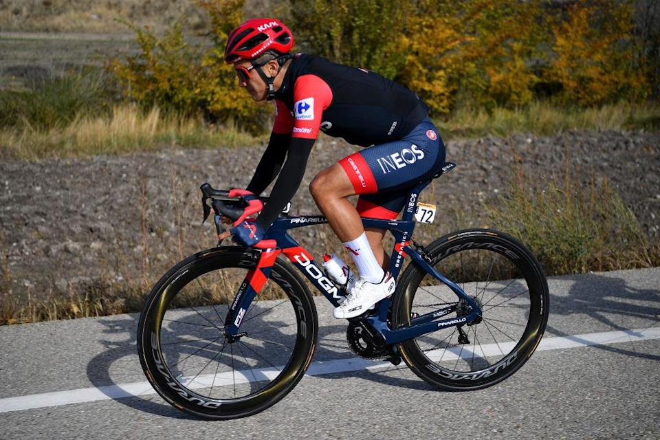 AGUILAR DE CAMPOO SPAIN  OCTOBER 29 Richard Carapaz of Ecuador and Team INEOS  Grenadiers Red Leader Jersey  during the 75th Tour of Spain 2020 Stage 9 a 1577km stage from Cid Campeador Military Base Castrillo del Val to Aguilar de Campoo  lavuelta  LaVuelta20  on October 29 2020 in Aguilar de Campoo Spain Photo by Justin SetterfieldGetty Images