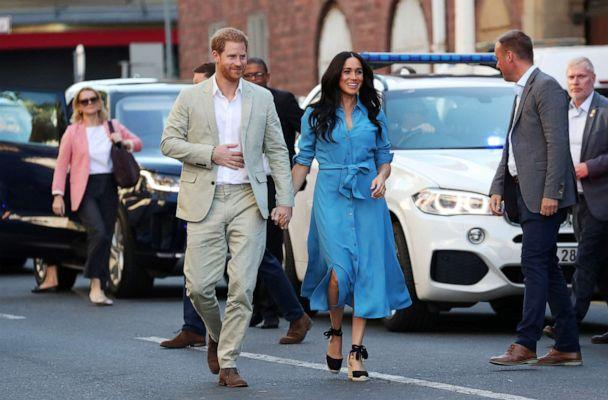 PHOTO: The Duke and Duchess of Sussex, Prince Harry and his wife Meghan, arrive at the District Six, on the first day of their African tour in Cape Town, South Africa, Sept. 23, 2019. (Sumaya Hisham/Reuters)