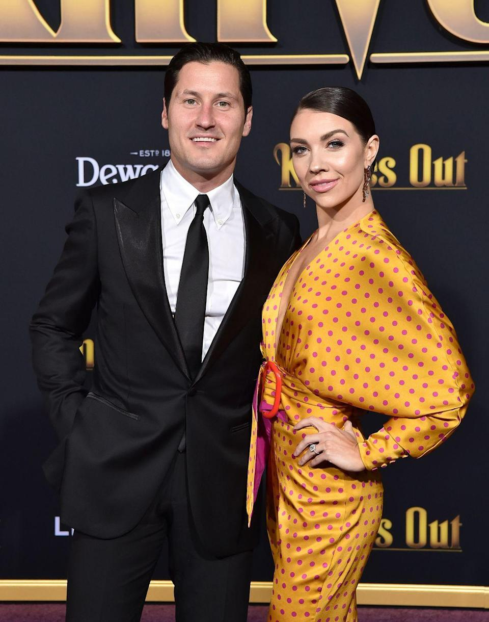 """<p>Jenna Johnson skyrocketed to fame on <em>So You Think You Can Dance.</em> In 2016, she joined <em>DWTS </em>as one of the dance pros and met fellow pro, Val Chmerkovskiy. The two began an <a href=""""https://people.com/tv/val-chmerkovskiy-jenna-johnson-love-story/"""" rel=""""nofollow noopener"""" target=""""_blank"""" data-ylk=""""slk:on again, off again romance"""" class=""""link rapid-noclick-resp"""">on again, off again romance</a>, finally tying the knot in April 2019. </p>"""