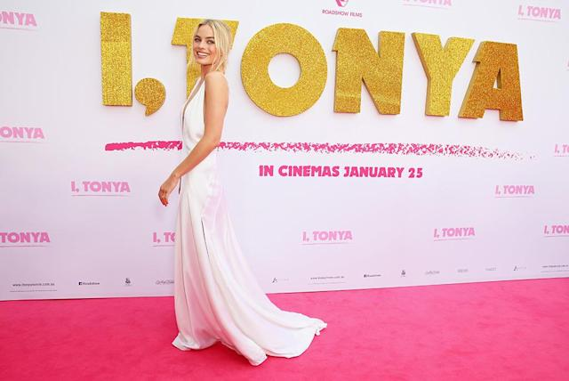 "<p>The vision in white looked angelic as she arrived at the Australian premiere of <em>I, Tonya</em> on Tuesday in Sydney. Later that night, she <a href=""https://www.instagram.com/p/BeS6o24lu68/?taken-by=cameronrobbie"" rel=""nofollow noopener"" target=""_blank"" data-ylk=""slk:partied it up with her family"" class=""link rapid-noclick-resp"">partied it up with her family</a> after getting the news that she had been nominated for her first Oscar. (Photo: Don Arnold/WireImage) </p>"