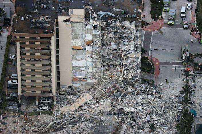 The condo collapse in Surfside Florida left rubble alongside residential towers