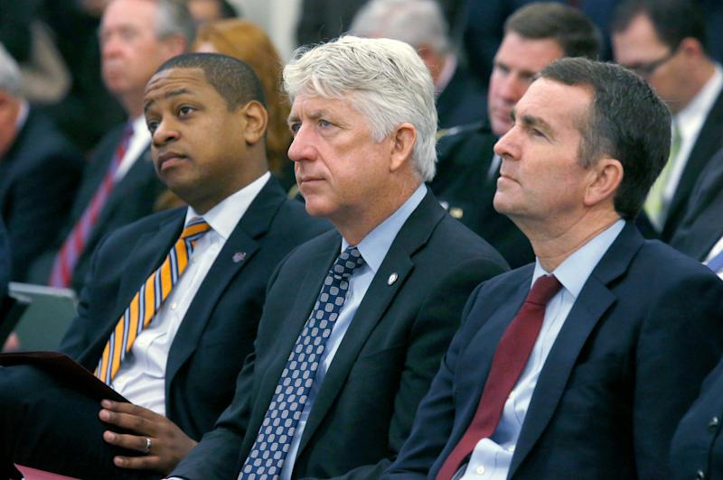 From left, Justin Fairfax, Mark Herring and Ralph Northam