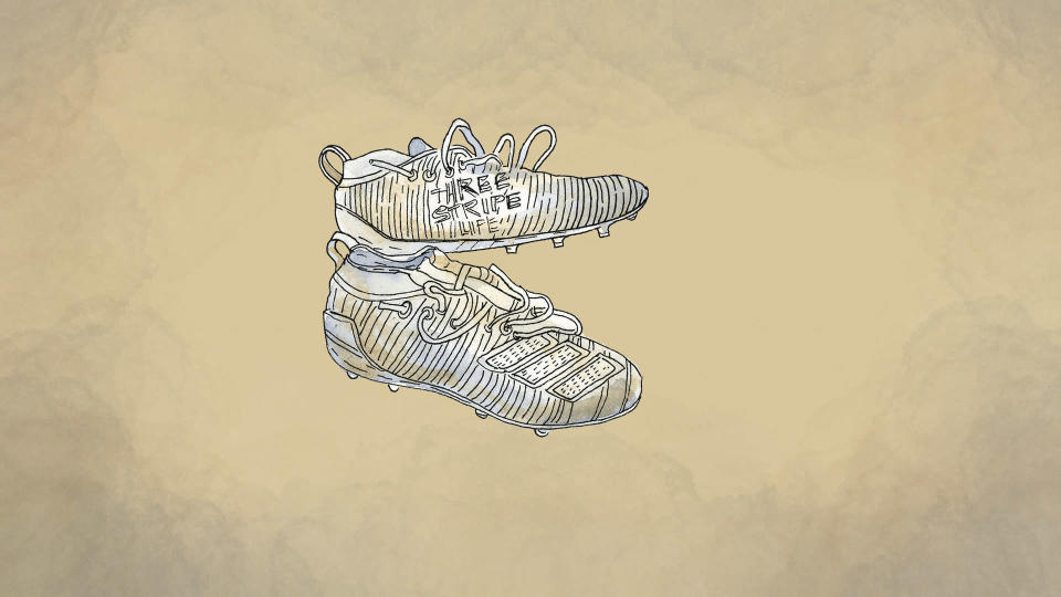 An illustration made from a photo provided by Raymond Millare of football cleats given to him by Willie Talamoa. (AP Illustration/Peter Hamlin)
