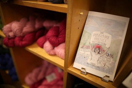 Yarn bundles are seen on the shelf as knitters take part in the Pussyhat social media campaign to provide pink hats for protesters in the women's march in Washington, D.C., the day after the presidential inauguration, in Los Angeles, California, U.S., January 13, 2017. REUTERS/Lucy Nicholson