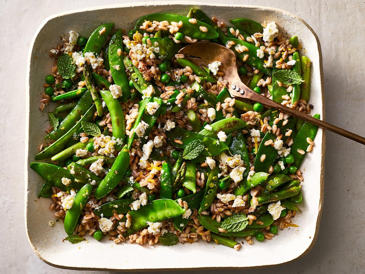 "<p>This salad brings fresh flavors to the plate with confidence and swagger. Barely blanched peas mingle with pan-fried sugar snaps, snow peas, and another of Hetty McKinnon's favorite spring ingredients, asparagus, which are cooked on high heat until just tender yet still crisp with the slightest hint of charring to add smokiness.</p><p><a href=""https://www.foodandwine.com/recipes/triple-pea-and-asparagus-salad-feta-mint-dressing"">GO TO RECIPE</a></p>"