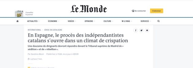 Captura de la noticia en 'Le Monde'