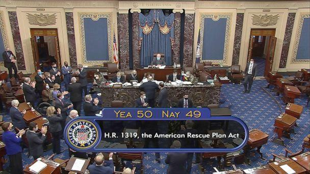 PHOTO: In this image from video, the vote total of 50-49 on Senate passage of the COVID-19 relief bill, is displayed on screen in the Senate at the U.S. Capitol in Washington, March 6, 2021. (Senate Television via AP)