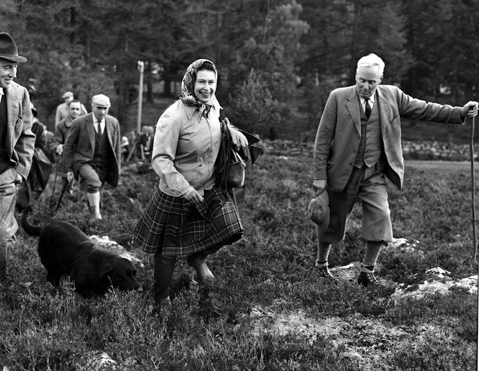 "<p>Balmoral Castle is widely thought to be the monarch's favorite residence, and here she is all smiles. ""I think Granny is the most happy there. I think she really, really loves the Highlands,"" described her granddaughter Princess Eugenie in the recent documentary <em>Our Queen At Ninety</em></p>"