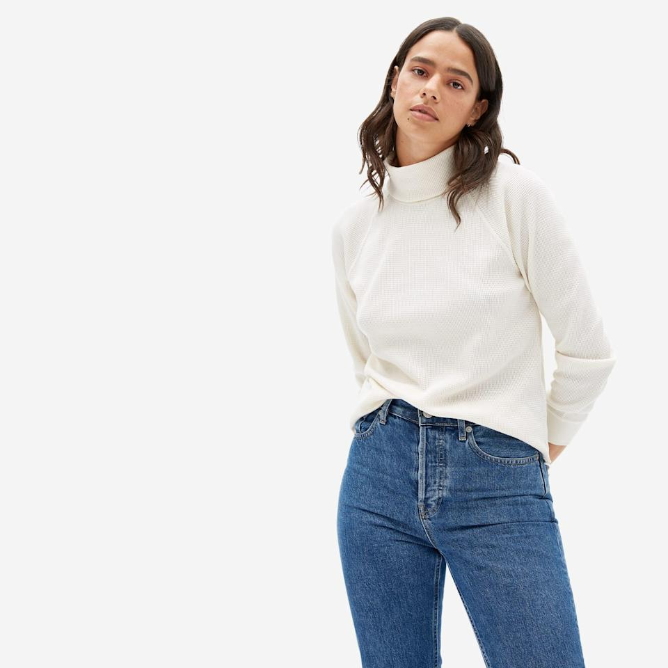 """<h3><h2>Everlane Organic Cotton Turtleneck </h2></h3><br><strong>Available Sizes: XXS-XL</strong><br>Everlane does basics really well — as evidenced with this top. It has all the feels of your favorite go-to turtleneck paired with the added warmth of a waffle-knit-thermal construction. It's also completely organic, so you can feel confident about the quality and sustainability of the garment you're cozying up in. <br><br><em>Shop </em><strong><em><a href=""""https://www.everlane.com/products/womens-organic-ctn-waffle-turtleneck-golden-brown"""" rel=""""nofollow noopener"""" target=""""_blank"""" data-ylk=""""slk:Everlane"""" class=""""link rapid-noclick-resp"""">Everlane</a></em></strong><br><br><strong>Everlane</strong> The Organic Cotton Turtleneck Waffle Tee, $, available at <a href=""""https://go.skimresources.com/?id=30283X879131&url=https%3A%2F%2Fwww.everlane.com%2Fproducts%2Fwomens-organic-ctn-waffle-turtleneck-golden-brown"""" rel=""""nofollow noopener"""" target=""""_blank"""" data-ylk=""""slk:Everlane"""" class=""""link rapid-noclick-resp"""">Everlane</a>"""