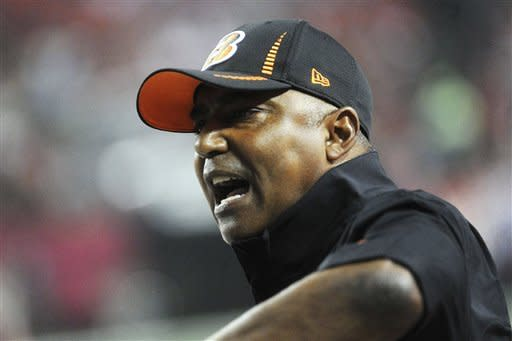 Cincinnati Bengals head coach Marvin Lewis yells during the first half of an NFL preseason football game against the Atlanta Falcons, Thursday, Aug. 16, 2012, in Atlanta. (AP Photo/John Amis)