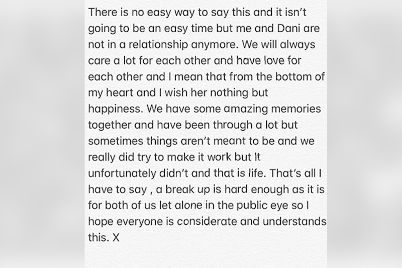 Statement: Jack Fincham announced the break up on his Instagram stories (Instagram/ @jack_charlesf)