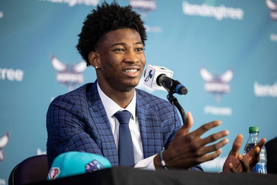 Charlotte Hornets draft pick Kai Jones speaks during a press conference at the Spectrum Center in Charlotte on Friday. The Hornets traded up to select the 6-foot-11 Jones at No. 19 overall.