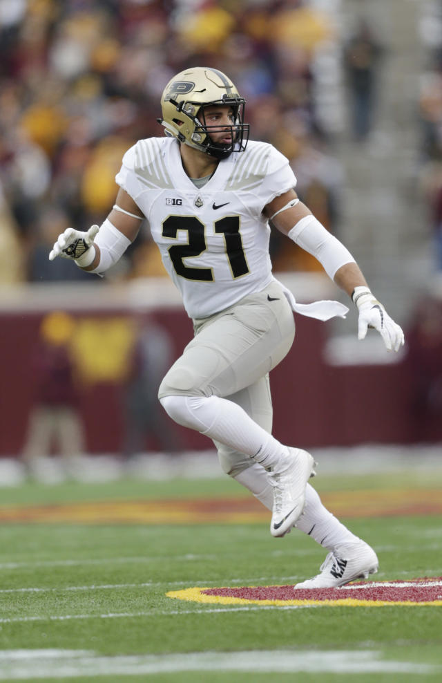 In this Saturday, Nov. 10, 2018, file photo, Purdue linebacker Markus Bailey runs against Minnesota in the first half of a NCAA college football game in Minneapolis.The Boilermakers fate may rest with the offensive and defense lines. (AP Photo/Andy Clayton-King, File)