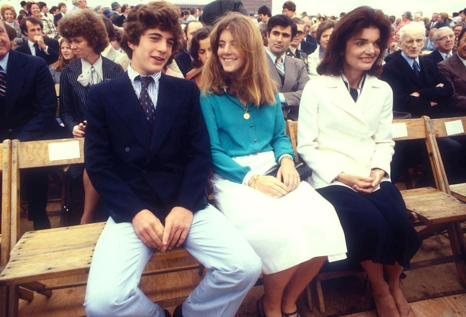 <p>Jackie and her children, John and Caroline, attend the groundbreaking ceremony of the John Fitzgerald Kennedy Presidential Library and Museum in Boston. </p>