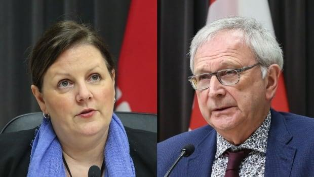 Dr. Jennifer Russell, chief medical officer of health, and Premier Blaine Higgs addressed the public Wednesday afternoon.  (Government of New Brunswick - image credit)
