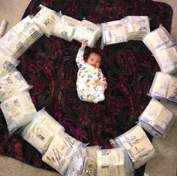 The internet can't get enough of this mum's picture of her baby surrounded by the breast milk she's pumped [Photo: Instagram/_naturally.nia]