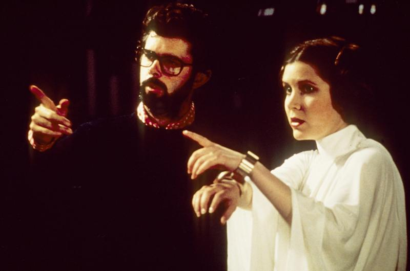 George Lucas directing Carrie Fisher in 1977's 'Star Wars' (credit: WENN)