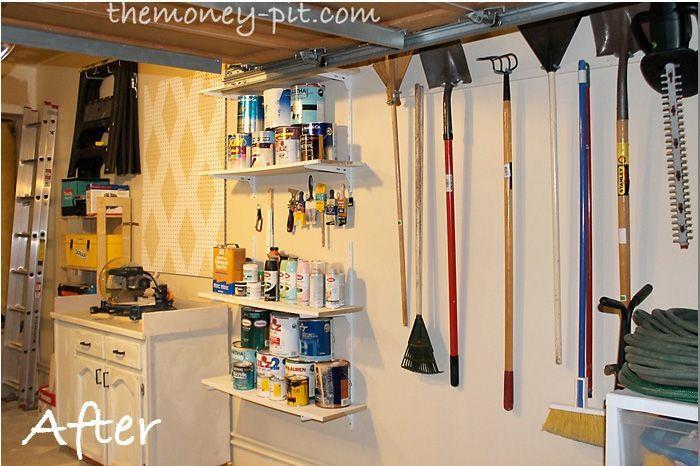 """<p>But all it takes are some shelves and hooks to turn the wall into a work station for outdoor chores and DIY projects.</p><p><em><a href=""""http://www.thekimsixfix.com/p/before-and-after.html"""" rel=""""nofollow noopener"""" target=""""_blank"""" data-ylk=""""slk:See more at The Kim Six Fix »"""" class=""""link rapid-noclick-resp"""">See more at The Kim Six Fix »</a></em></p><p><strong>What you'll need: </strong><span class=""""redactor-invisible-space"""">wall storage systems, $30, <a href=""""https://www.amazon.com/Adjustable-Storage-System-Holders-Organizer/dp/B01HEQC0S2/?tag=syn-yahoo-20&ascsubtag=%5Bartid%7C10063.g.36078080%5Bsrc%7Cyahoo-us"""" rel=""""nofollow noopener"""" target=""""_blank"""" data-ylk=""""slk:amazon.com"""" class=""""link rapid-noclick-resp"""">amazon.com</a></span><br></p>"""