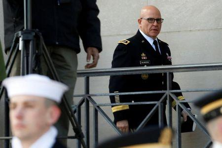 FILE PHOTO - White House National security adviser Lt. Gen. H.R. McMaster arrives at the Pentagon in Washington, U.S., March 16, 2017. REUTERS/Yuri Gripas