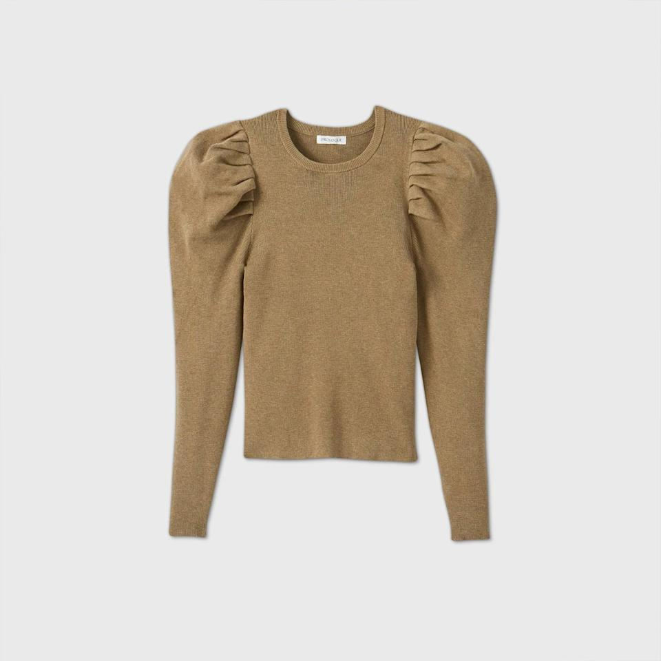 """<p>You can easily dress this <product href=""""https://www.target.com/p/women-s-crewneck-volume-sleeve-pullover-sweater-prologue/-/A-79653094"""" target=""""_blank"""" class=""""ga-track"""" data-ga-category=""""internal click"""" data-ga-label=""""https://www.target.com/p/women-s-crewneck-volume-sleeve-pullover-sweater-prologue/-/A-79653094"""" data-ga-action=""""body text link"""">Crewneck Volume Sleeve Pullover Sweater</product> ($28) up or down.</p>"""