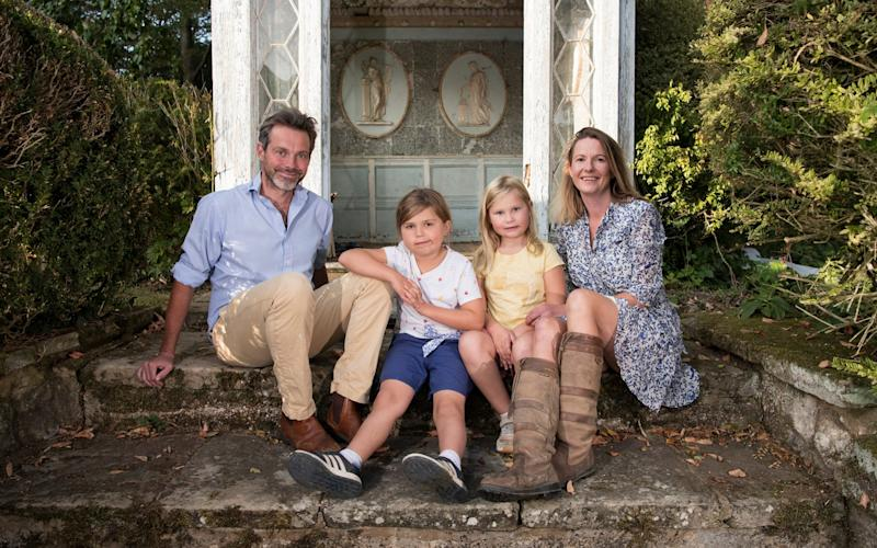 Isabel Mahony, with husband Paul and children Isla and Ottilie at their new home in Kent - Christopher Pledger for The Telegraph