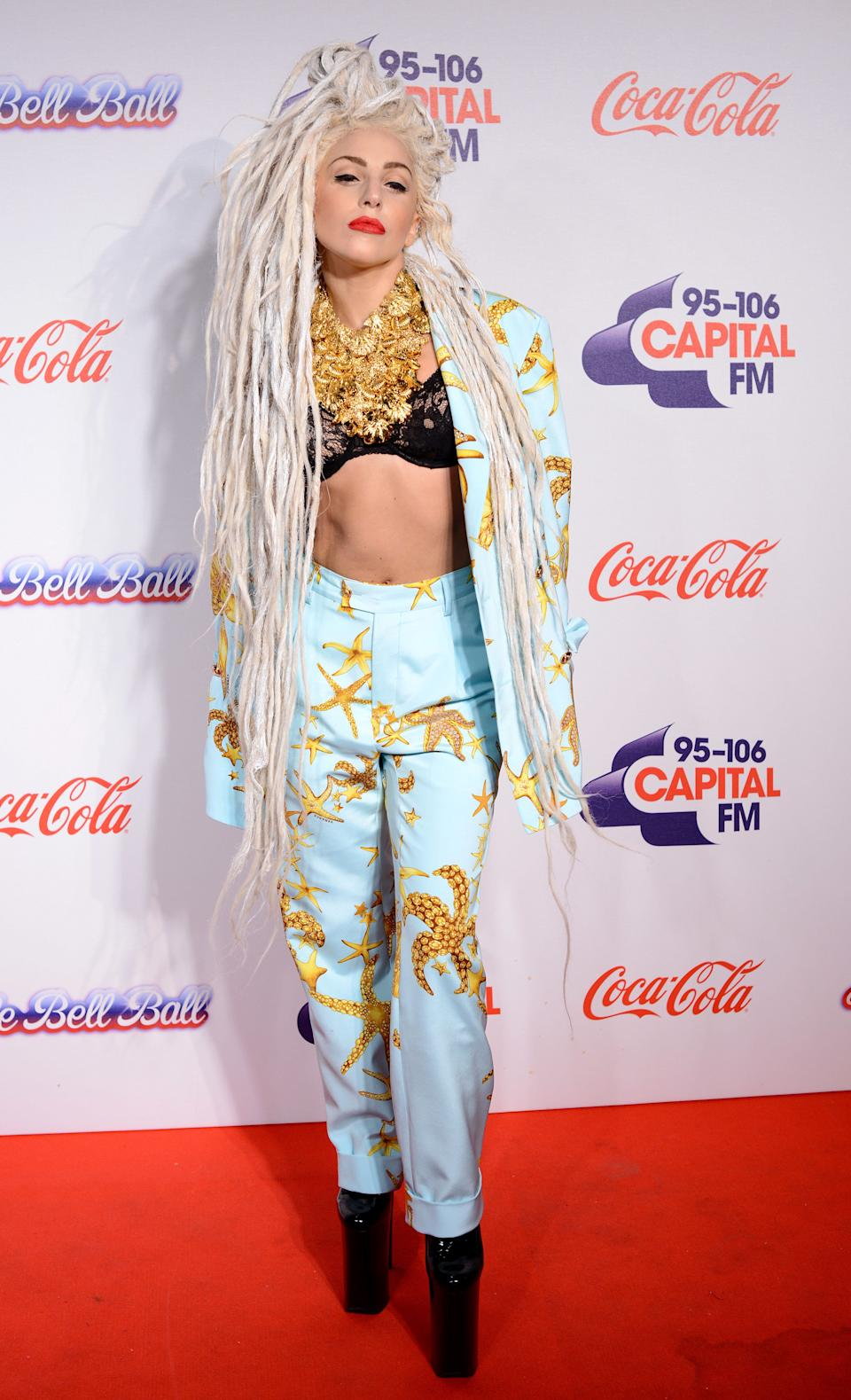 Gaga wears a suit by Versace at Capital FM's Jingle Bell Ball on Dec. 8, 2013, in London.