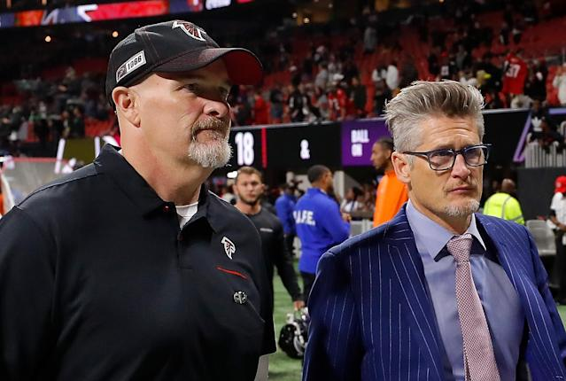 Atlanta Falcons team owner Arthur Blank announced on Friday that head coach Dan Quinn, left, and general manager Thomas Dimitroff will be retained for the 2020 season. (Kevin C. Cox/Getty Images)