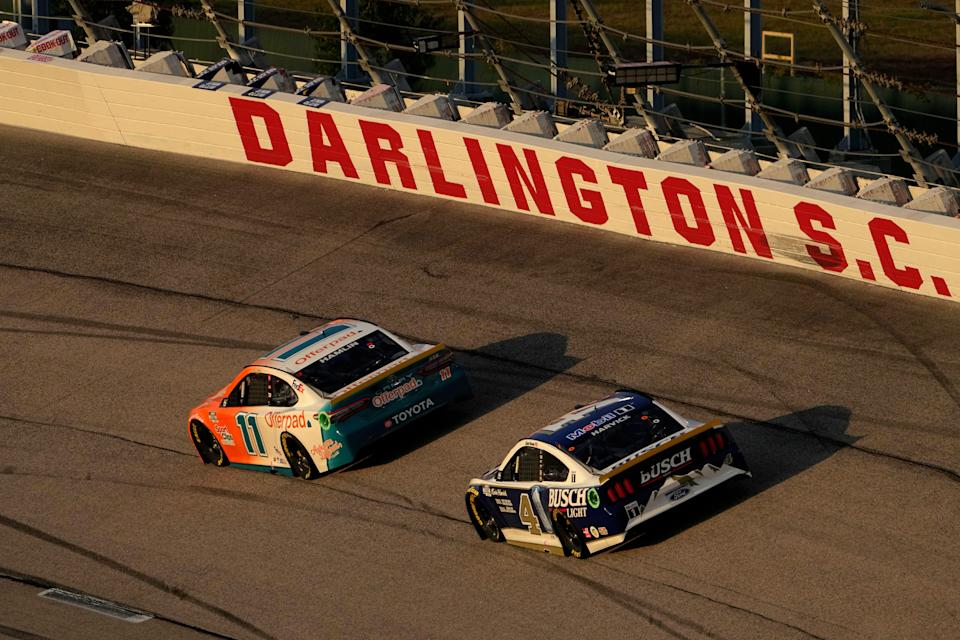 Denny Hamlin (11) and Kevin Harvick (4) were among only a handful of playoff drivers that finished Sunday's Cook Out Southern 500 at Darlington Raceway unscathed.