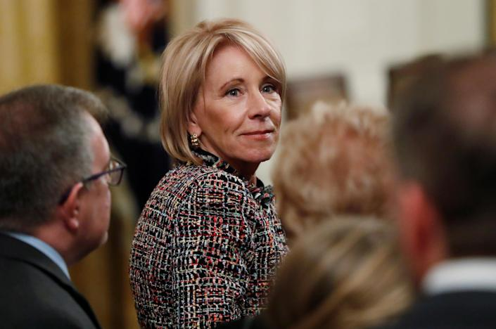 U.S. Education Secretary Betsy DeVos attends a ceremony in the East Room of the White House in Washington, U.S. November 16, 2018. (Photo: REUTERS/Leah Millis)