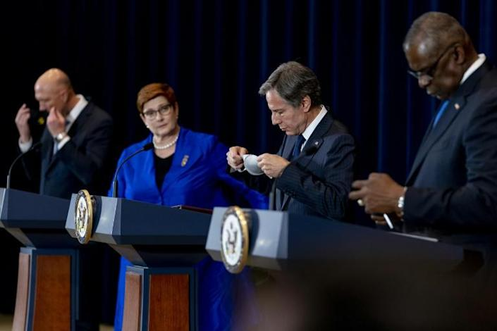 Australian Defense Minister Peter Dutton, Australian Foreign Minister Marise Payne, US Secretary of State Antony Blinken and US Defense Secretary Lloyd Austin hold a news conference at the State Department (AFP/Andrew Harnik)