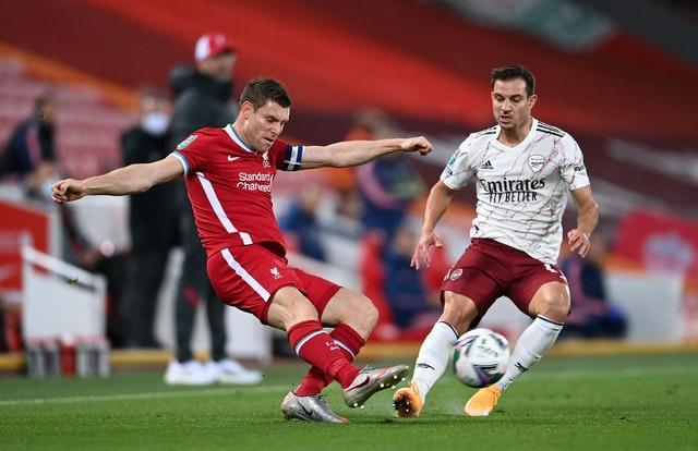 Cedric Soares, right, faced Liverpool in the Carabao Cup
