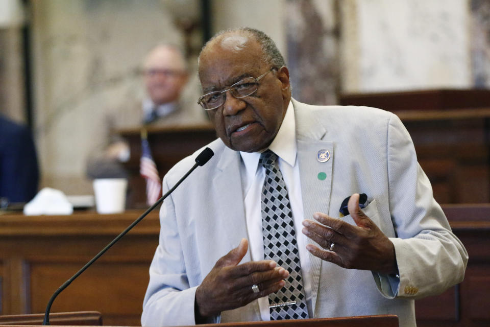 Sen. David Jordan, D-Greenwood, speaks for legislation that would change Mississippi's state flag Sunday, June 28, 2020 at the Capitol in Jackson, Miss. The bill to change the state flag passed. Both chambers of the Mississippi Legislature passed the bill to take down the state flag, which contains the Confederate battle emblem. Gov. Tate Reeves has already said he would sign whatever flag bill the Legislature decides on. (AP Photo/Rogelio V. Solis)