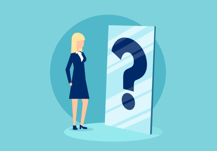 Cartoon businesswoman standing in front of mirror with question mark in confusion of personal character