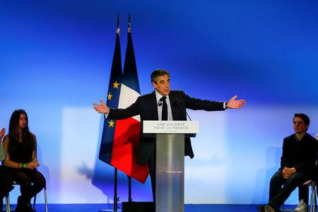 Francois Fillon, former French Prime Minister, member of the Republicans political party and 2017 French presidential election candidate of the French centre-right, attends a political rally in Chassieu, near Lyon, France, April 12, 2017. REUTERS/Robert Pratta
