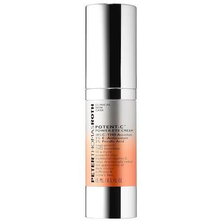 "<h3>Peter Thomas Roth Potent-C Power Eye Cream</h3><br>With a powerful cocktail of vitamins C and E, hyaluronic acid, and caffeine, dark circles and fine lines don't stand a chance against this eye cream.<br><br><strong>Peter Thomas Roth</strong> Potent-C Power Eye Cream, $, available at <a href=""https://go.skimresources.com/?id=30283X879131&url=https%3A%2F%2Fwww.sephora.com%2Fproduct%2Fpotent-c-tm-power-eye-cream-P433456%3Flsft%253Dom_mmc%253Appc-GG_1533944608_60212794284_296569919519_2058154_291191670138_9067609_c%2Ccountry_switch%3Aus%2Clang%3Aen%26gclsrc%3Daw.ds%26ds_rl%3D1261471%26gclid%3DEAIaIQobChMIjs2T0r3Z3gIVDFYMCh3MggfQEAQYAiABEgIP1PD_BwE"" rel=""nofollow noopener"" target=""_blank"" data-ylk=""slk:Sephora"" class=""link rapid-noclick-resp"">Sephora</a>"