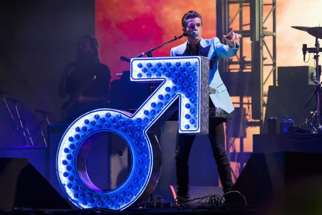 <p>NEW ORLEANS, LA – OCTOBER 29: Brandon Flowers of The Killers performs during the 2017 Voodoo Music + Arts Experience at City Park on October 29, 2017 in New Orleans, Louisiana. (Photo by Erika Goldring/Getty Images) </p>