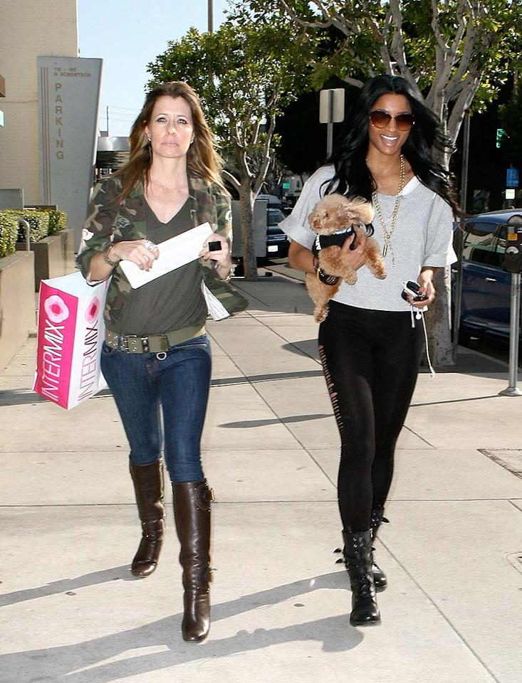 "R&B songstress Ciara took her adorable puppy Tyson out for a shopping trip along LA's Robertson Boulevard. Cute outfit Tyson! Fabio/<a href=""http://www.x17online.com"" target=""new"">X17 Online</a> - March 10, 2010"