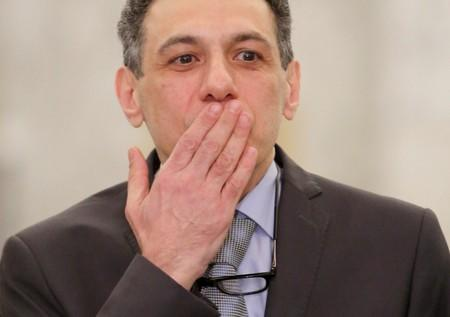 FILE PHOTO: Freed Lebanese businessman Nizar Zakka, who had been detained in Iran since 2015, gestures as he arrives at the Presidential Palace in Baabda