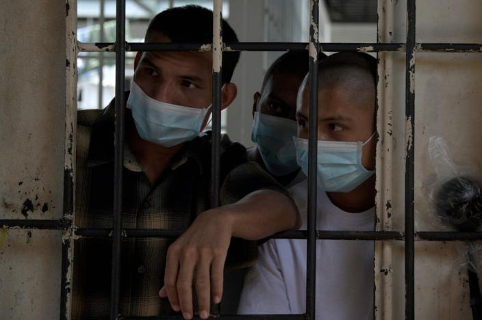 "<span class=""caption"">Even before COVID-19, El Salvador's prisons were contagious disease hotspots. Here, MS-13 gang members with tuberculosis at Chalatenango prison, March 29, 2019.</span> <span class=""attribution""><a class=""link rapid-noclick-resp"" href=""https://www.gettyimages.com/detail/news-photo/members-of-the-ms-13-gang-infected-with-tuberculosis-are-news-photo/1137661013?adppopup=true"" rel=""nofollow noopener"" target=""_blank"" data-ylk=""slk:Marvin Recinos/AFP via Getty Images"">Marvin Recinos/AFP via Getty Images</a></span>"