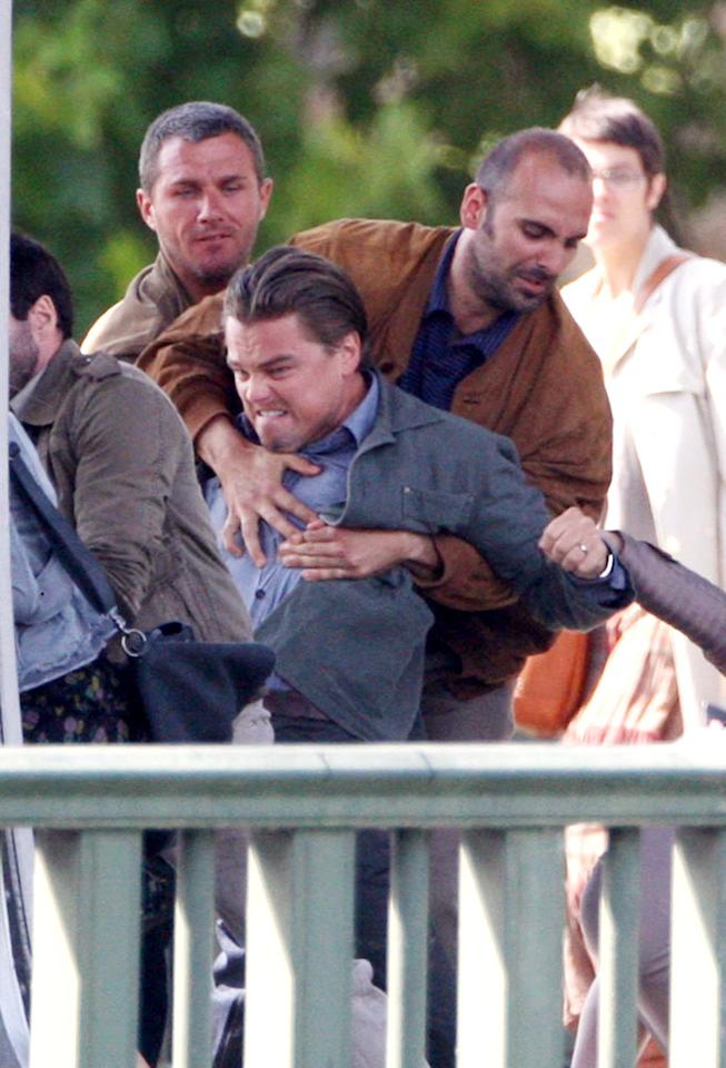 """The A-list actor gets physical during an action sequence. KCSPresse/<a href=""""http://www.splashnewsonline.com"""" target=""""new"""">Splash News</a> - August 17, 2009"""