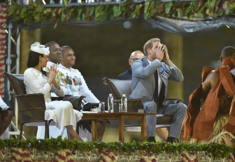 Prince Harry downed kava during a traditional welcome ceremony in Fiji
