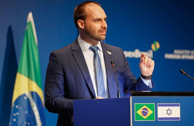 Brazilian Federal Deputy Eduardo Bolsonaro speaks during the opening ceremony of the Brazilian Ministry Trade And Investment Promotion Agency in Jerusalem on December 15, 2019. (Photo by Gil COHEN-MAGEN / AFP) (Photo by GIL COHEN-MAGEN/AFP via Getty Images)