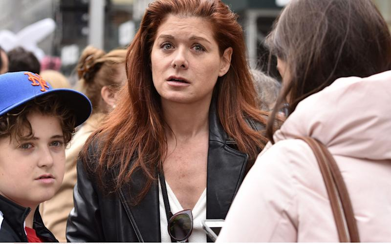 Debra Messing at Saturday's New York rally - Credit: Rex