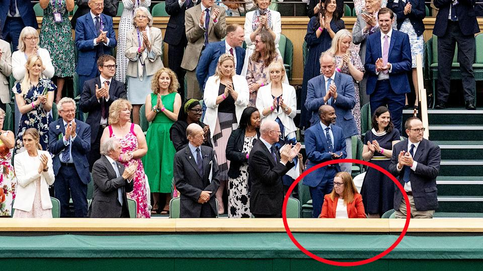 The Royal Box, pictured here standing and applauding Dame Sarah Gilbert.