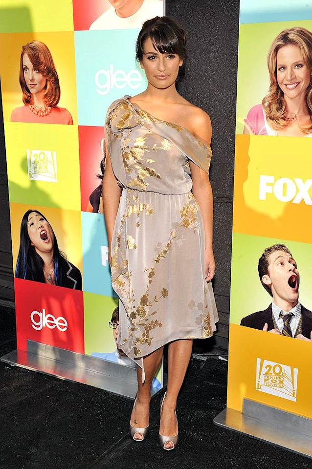 """Lea Michele rarely disappoints on the red carpet, but the gorgeous """"Glee"""" lead truly let us down by donning gold-and-gray granny curtains to a star-studded soiree in Hollywood. Toby Canham/<a href=""""http://www.gettyimages.com/"""" target=""""new"""">GettyImages.com</a> - July 27, 2010"""