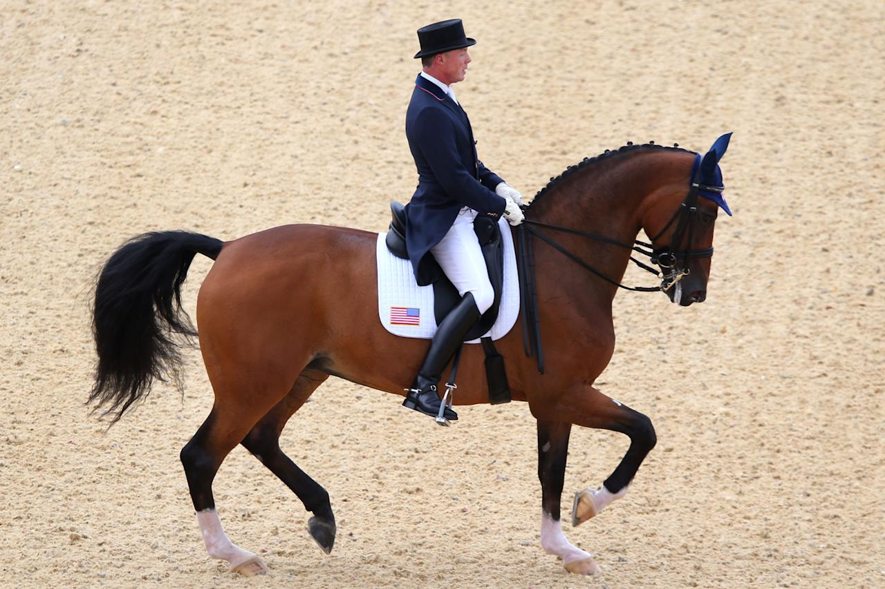 Jan Ebeling of the United States riding Rafalca competes in the Dressage Grand Prix on Day 6 of the London 2012 Olympic Games at Greenwich Park on August 2, 2012 in London, England.  (Photo by Alex Livesey/Getty Images)