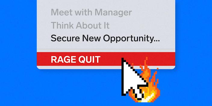 """Cursor hovering over a """"RAGE QUIT"""" option in a dropdown menu representing mass job quitting during the COVID-19 pandemic"""