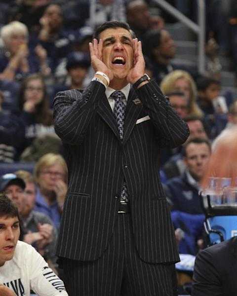 Villanova head coach Jay Wright reacts during the second half of a first-round men's college basketball game against Mount St. Mary's in the NCAA Tournament, Thursday, March 16, 2017, in Buffalo, N.Y. Villanova won, 76-56. (AP Photo/Bill Wippert)